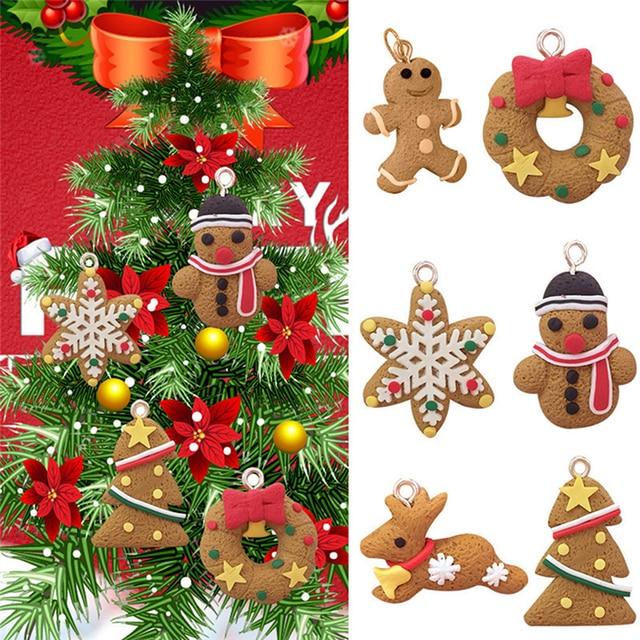 Us 0 95 6 Pcs Gingerbread Man Christmas Ornaments Deer Snowman Chrismas Tree Pendant Decoration New Year Decor Navidad Party Supplies In Pendant