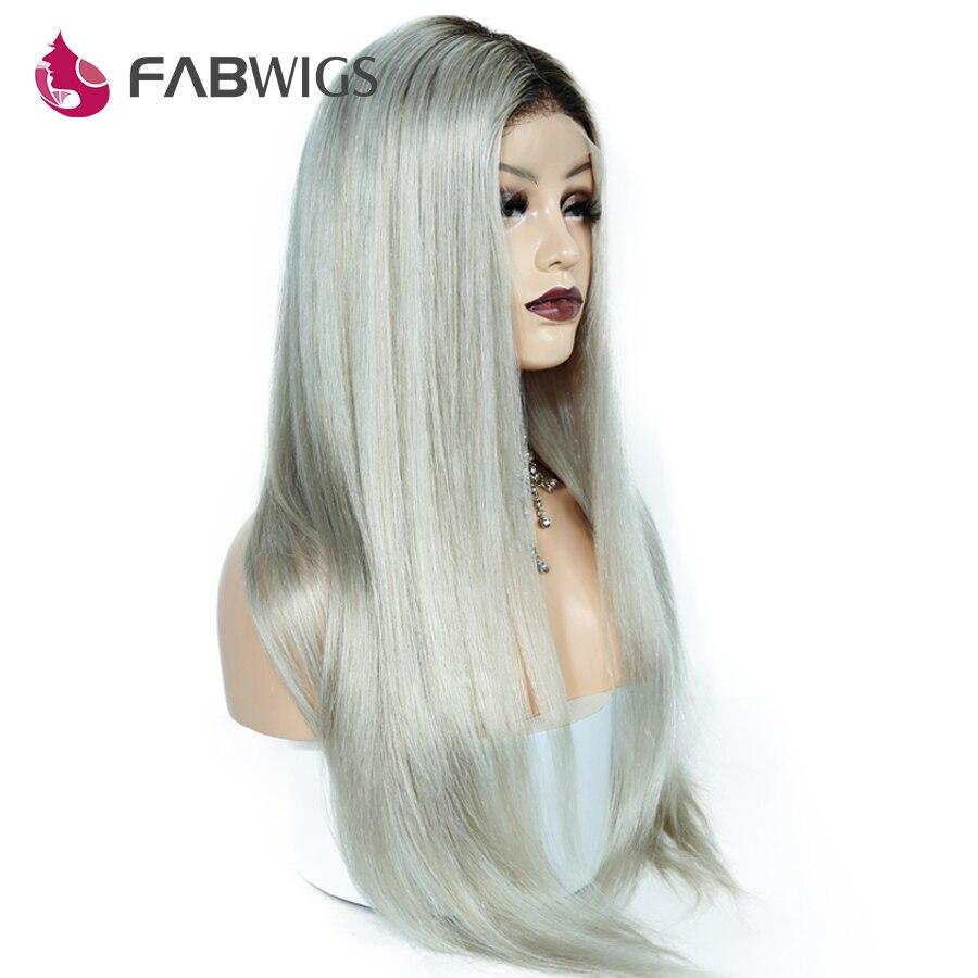 Fabwigs 150% плотность 1B/серый полный шнурок человеческих волос Парики Бразильский Реми Ombre Ким Кардашян парики человеческих волос с для Волос
