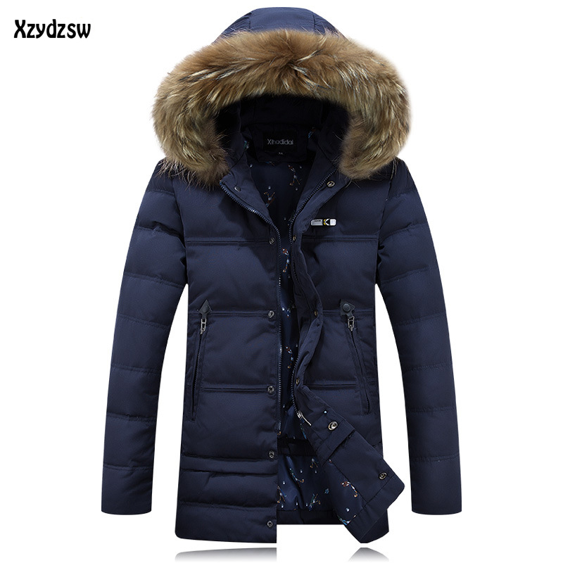 2016 Winter Jacket Men 95% White Duck Downs Padded Thick Warm Casual Hooded Male Jacket Coat Mens Coat Warm Thermal Outwear