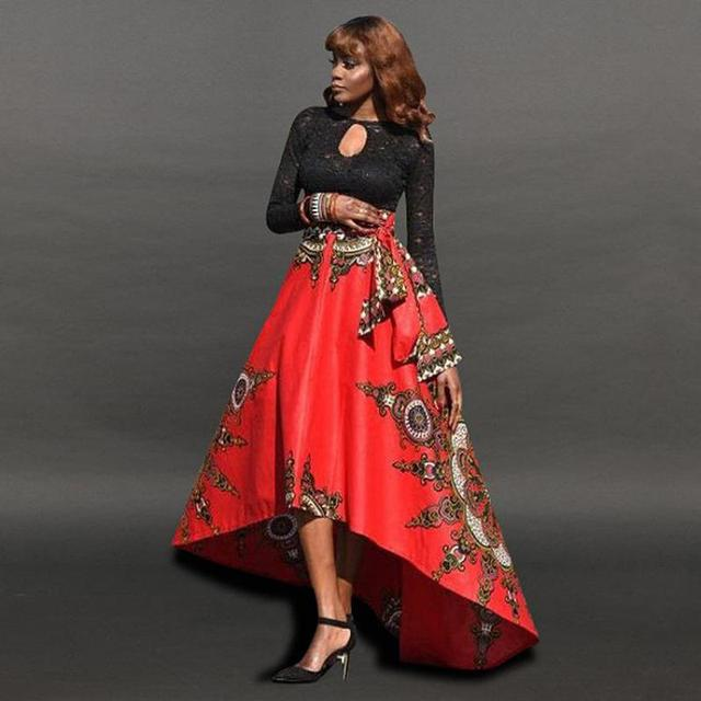 7ac271a89f 2019 Promotion Hot African Vintage Fashion Short Front Long Back Irregular  Skirts Faldas Largas Mujer Verano Free Shipping