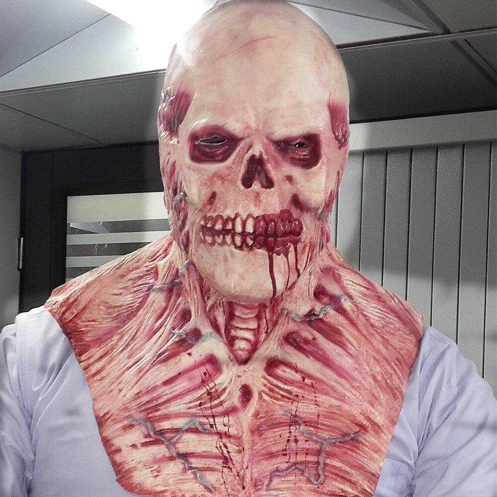 <font><b>New</b></font> Halloween Blood Skull Mask Latex Scary wigs haunted house Upper body horror decoration Rib muscle devil <font><b>terror</b></font> masks