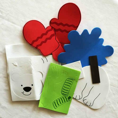 3 pz/LOT. FAI DA TE pupazzo di neve fiocco di neve guanto fridge magnet craft kit X'mas giocattoli giocattolo educativo Precoce Goody bag Scuola Materna artigianato OEM