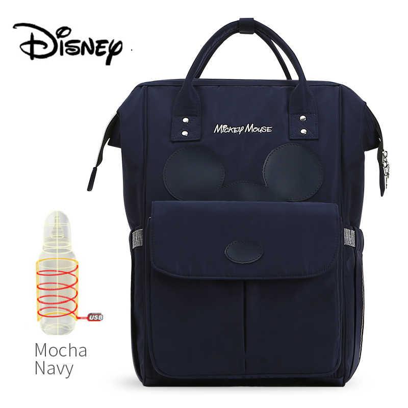 Disney USB Cho Bé Bú Bình Ba Lô Du Lịch Cho Bé Túi Cho Mẹ Túi Bảo Quản Xác Ướp Túi Mocha Dễ Thương Chống Nước Túi Đựng Tã Lót