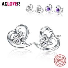 925 Sterling Silver White/Purple Crystal Heart Stud Earrings with CZ Zircon for Women Girl Female Jewelry Wedding Gift цена