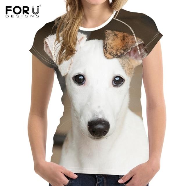 FORUDESIGNS חמוד 3D בעלי החיים ויפט כלב הדפסת קיץ T חולצות לאישה כושר קצר שרוול למעלה טי בגדים לנשימה חולצות