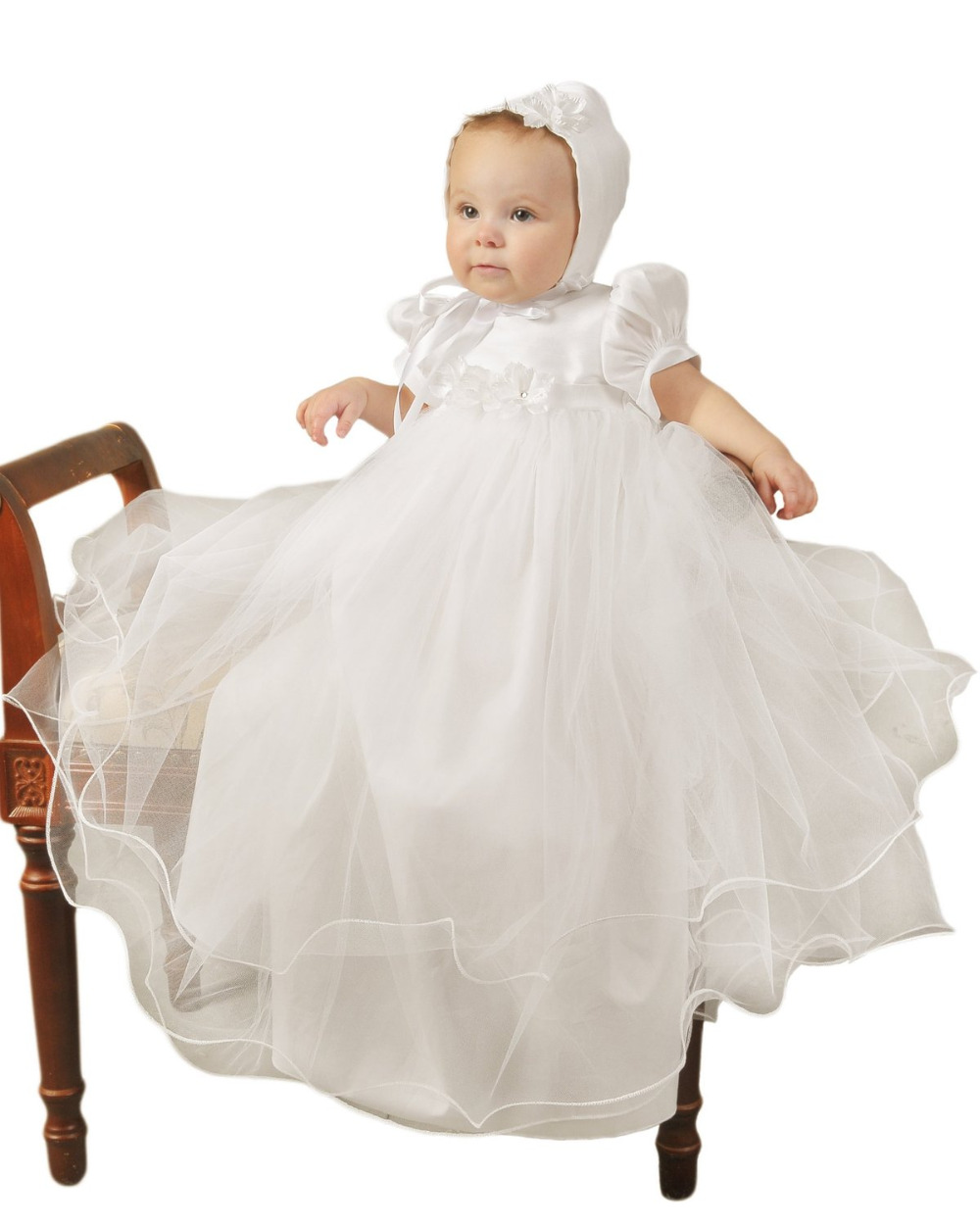 Hot Baby Girl Dresses Solid Short Sleeves Formal Puff Sleeves Flowers A-Line Back Button With Hat Christening Gowns Vestidos scalloped ruched a line dress with short sleeves