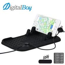 Digitalboy Car Phone Pad Holder Mobile Pad Adjustable Bracket Stand 3 in 1 USB Charging Car Mount Port for iPhone Samsung Type-C