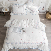 White Color Luxury Wedding ruffles Bedding set Queen King size Cotton Bed sheet set Embroidery Duvet cover Pillowcase