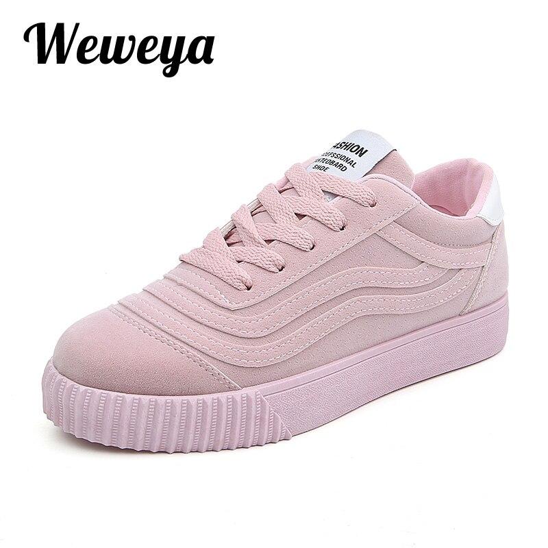 Weweya модные женские туфли вулканизируют Обувь повседневная женская обувь парусиновая женская обувь на платформе Спортивная обувь zapatos Tenis Feminino размеры 35–43