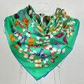 2014 Das Senhoras do Verde de Seda Amoreira Sarja De Seda do Xaile do Lenço Impresso 90*90 cm Outono Inverno Lenço de Seda Da Marca Quadrado Envoltórios do lenço