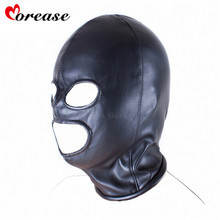 Morease Fetish Mouth Mask erotic Sex Toy For Female Woman Couple Restraint Sexy Bondage Adult Game PU Leather Hood Mask
