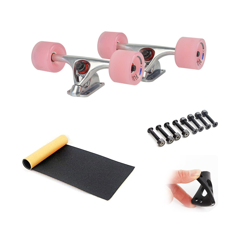 7inch Longboard Skateboard Trucks Combo Set 70mm Wheels 115mm Grip Tape 6mm Rubber Risperad 35mm Hardware