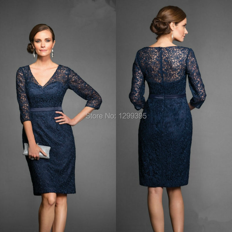 Navy Blue Lace Knee Length Mother Of The Bride Dress Plus