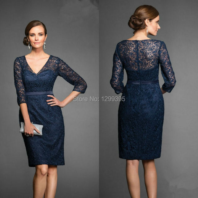 Navy Blue Lace Knee Length Mother Of The Bride Dress Plus Size With