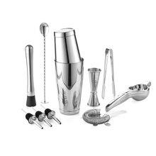 Premium Cocktail Tool Kit/Barware/Set   Bartender Kit Includes Shaker, Jigger, Spoon, Pourer, Muddler, Squeezer & Ice tong