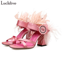 Sexy design satin sandals women high heels hairy feather big Button decor high quality 2018 wedding shoes sandalia feminina