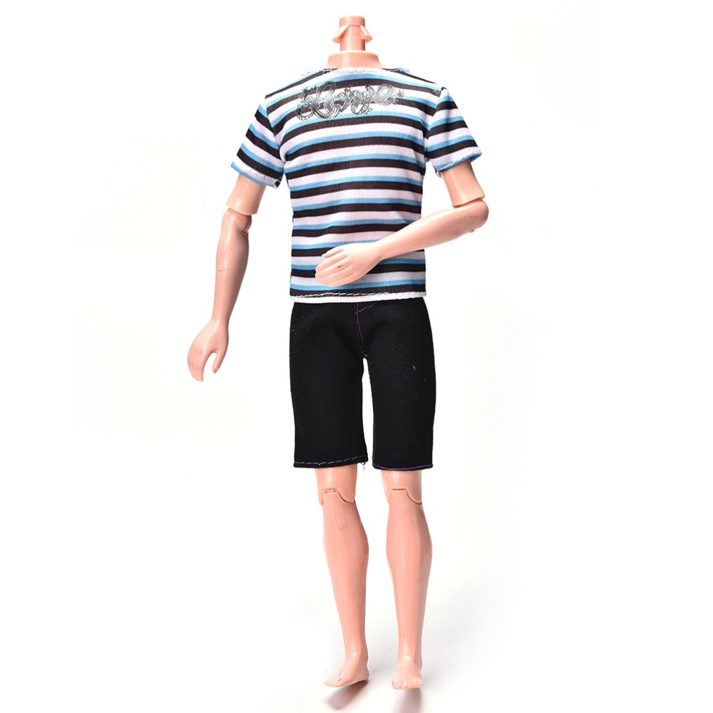 Sport Suit Boy Clothes for Ken DIY Summer Striped Print Shirt+Black Short Pants for Barbie 50pcs lot sfr9224 to 252