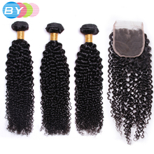 BY Pre-Colored Peruvian Non-remy Hair Kinky Curly With 4×4 Lace Closure Free Part 3 Bundles Human Hair Weave Natural Color