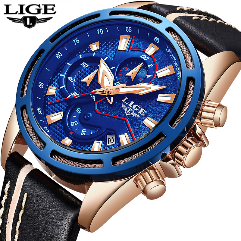 Reloje 2018 LIGE Men Watch Male Leather Automatic date Quartz Watches Men Brand Luxury Waterproof Sport Clock Relogio Masculino цена 2017