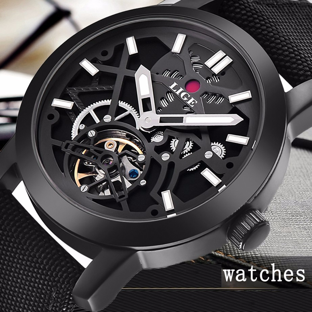 Relogio Masculino 2017 LIGE Casual Men's Luxury Brand Military Mechanical Watches Leather Hollow Skeleton Watch Relojes Hombre relogio masculino 2017 forsining men s luxury brand military automatic mechanical watches leather watch relojes hombre