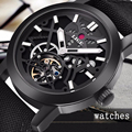 Relogio Masculino 2017 LIGE Casual Men's Luxury Brand Military Mechanical Watches Leather Hollow Skeleton Watch Relojes Hombre