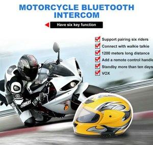 Image 5 - EJEAS E6 בתוספת אופנוע אינטרקום 1200M Communicator Bluetooth קסדת האינטרפון אוזניות VOX עם שלט רחוק עבור 6 רוכבים