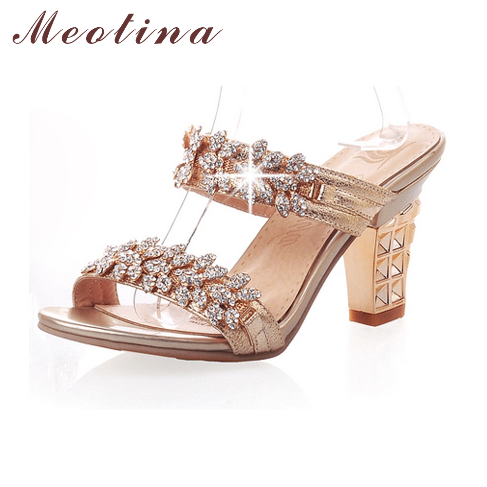 Meotina Bling Ladies Sandals Summer Open Toe Slippers Party  Sandals Chunky High Heels Shoes Women Rhinestone Gold Size 34-39 Пижама