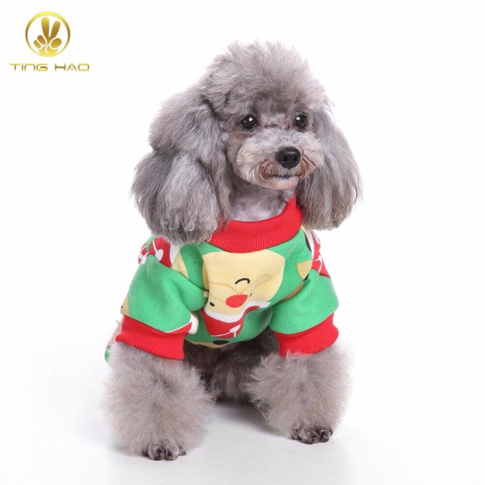 TINGHAO Cute Santa Claus Reindeer Pet Clothes Christmas T-shirt Dog Pajamas Apparel