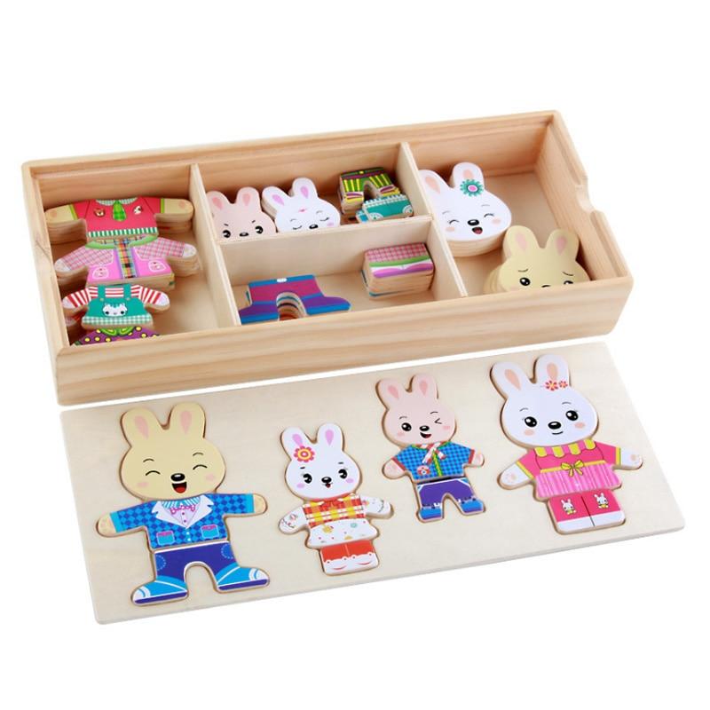 Новый мультфильм кролик переодеться деревянная игрушка Паззлы Монтессори платье изменение головоломки Игрушечные лошадки для девочек