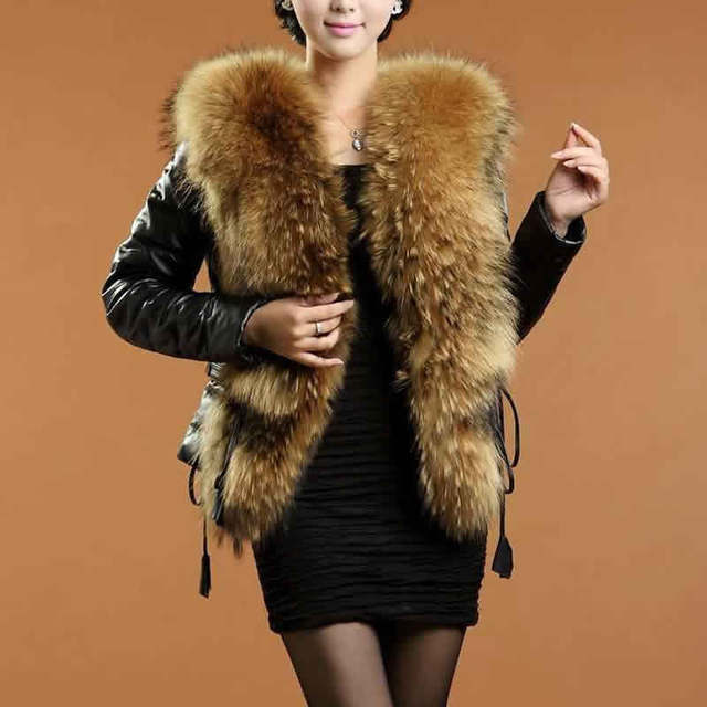 Winter Faux Fur Coat Women Slim Short Large Fur Collar Warm Faux Leather Jacket 2016 Women Jackets and Coats chaquetas mujer