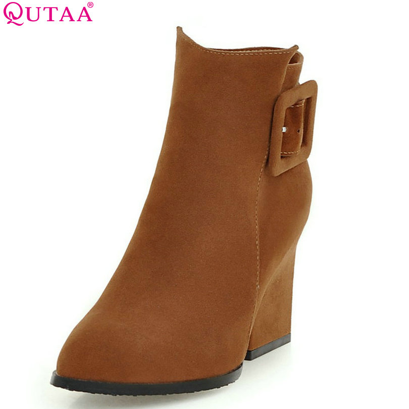 QUTAA Fashion Buckle Scrub Zipper Winter 2016 Women Shoes Square High Heel Ankle Boots Women Motorcycle Boots Size 34-43 sesoo eu standard remote control switch 3 gang 1 way wireless remote control wall touch switch crystal glass switch panel