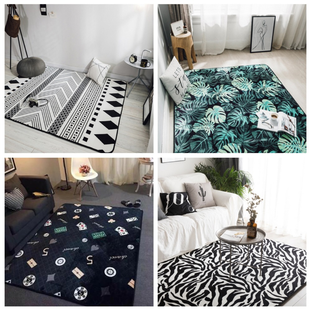 Fashion Personality Skull Print Large size Carpet for Living Room Bedroom Decor Carpets Area Rug Baby Play Crawl Game Mat rugs in Carpet from Home Garden