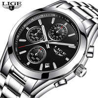 LIGE Brand Steel Men Watch Luxury Sport Quartz Business Wrist Watch Men Clock Male Relogio Masculino