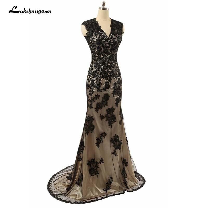 Lakshmigown élégante dentelle noire sirène mère de la mariée robe Abendkleider 2019 formelle mariage invité robe longue mère marié