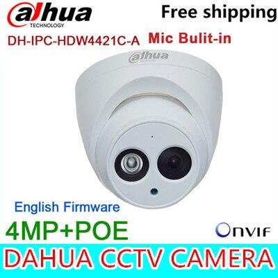 Original Dahua 4MP Camera Mic built in IPC-HDW4421C-A IR Full HD IP POE Dome Camera DH-IPC-HDW4421C-A a7220 usb built in mic 360° rotating web camera for pc laptop