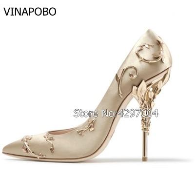 VINAPOBO 2018 Designer Women Satin Wedding Shoe Metal Covered HIGH Heel Stiletto Pumps Sexy Flower Pointed Toe Shoe 6 Colors