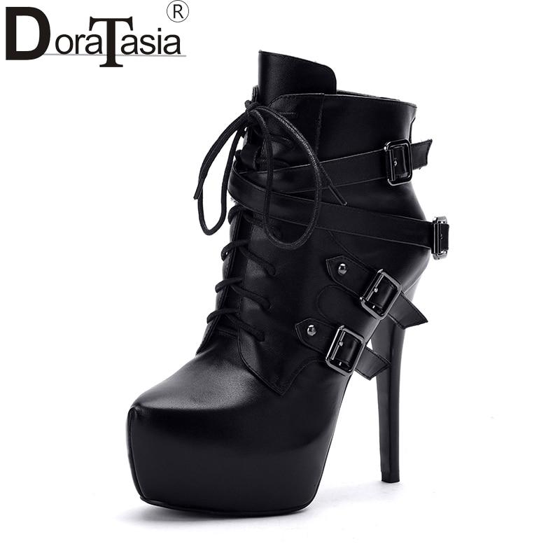 Здесь продается  DoraTasia  brand design sexy genuine leather women shoes woman super high heel punk rivets Buckles ankle boots top quality black  Обувь
