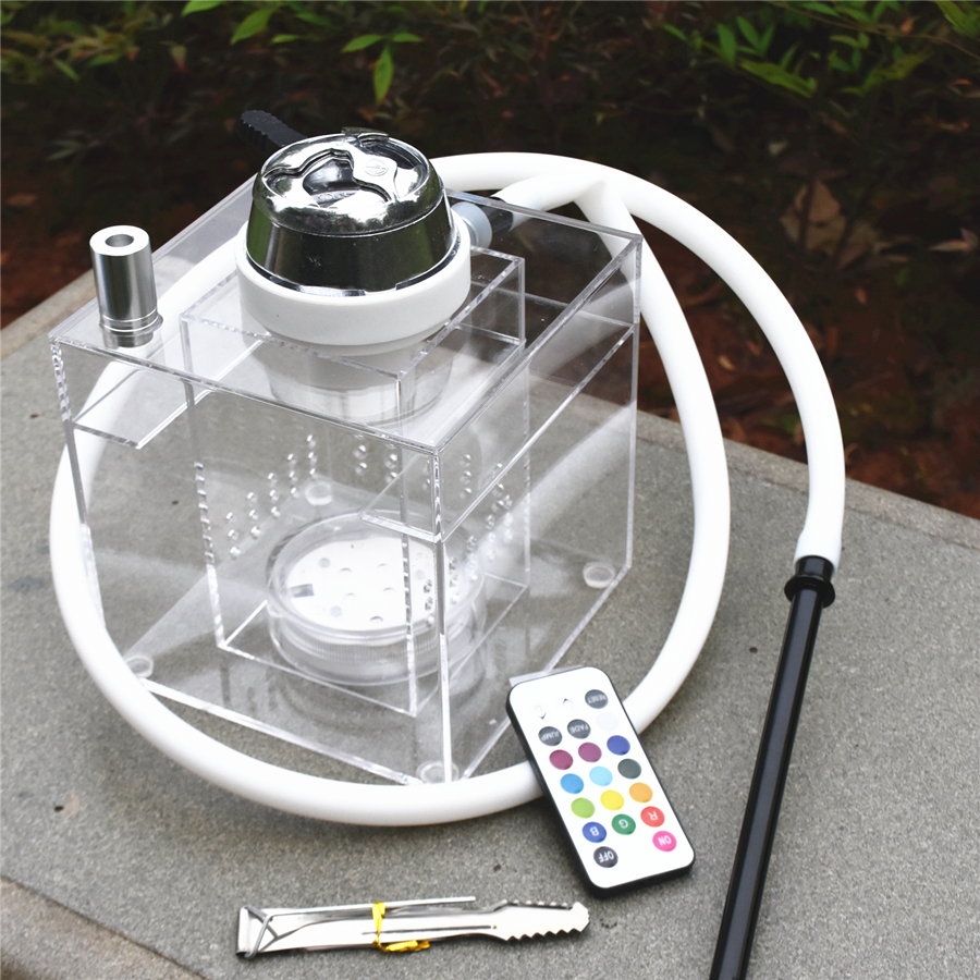 Top Transparent Acrylic Shisha Hookah With LED Light Silicone Hose Charcoal Tongs Hookah Bowl For Club Party