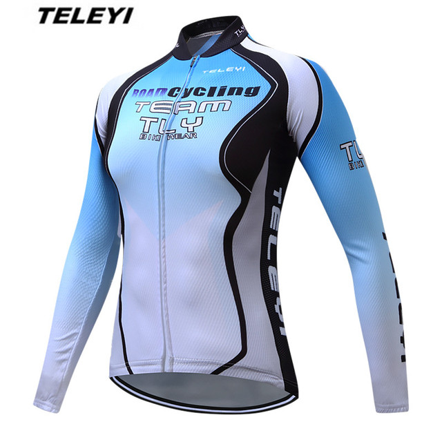 TELEYI Blue White Bike jersey Women Cycling clothing Long Female MTB Ropa  Ciclismo Maillot Long Sleeve Shirts Racing Blouse top dfd347139