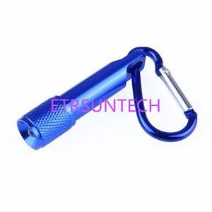 Image 4 - 500 pièces/lot Mini 1 LED lampe de poche mousqueton torche porte clés Camping lampe randonnée crochet porte clés Flash lumière laser gratuit logo