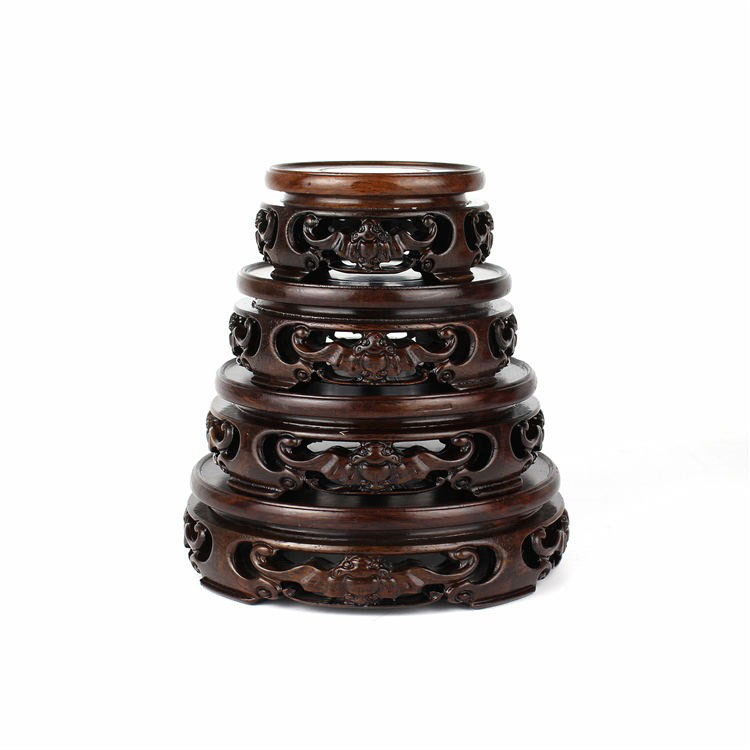 Black rosewood ebony circular base wood logs base stone jade ornaments bonsai teapot baseBlack rosewood ebony circular base wood logs base stone jade ornaments bonsai teapot base