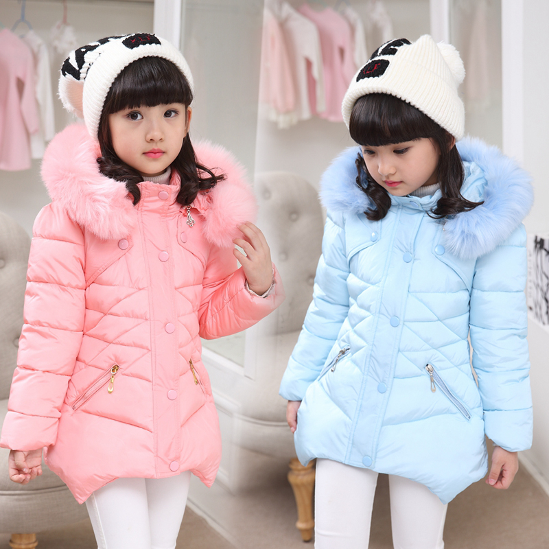 Winter Jacket Girl 2018 Fashion Fur Collar Girls Padded Coats Children Parka Cotton-padded Children Parka For 5-12Y стоимость