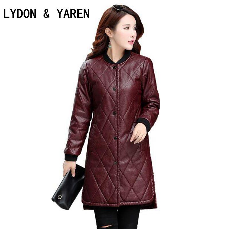 5XL women Leather jackets 2017 brand autumn-winter New womens European fashion Artificial Leather Long coat jackets Outerwear