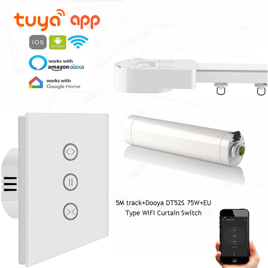 Tuya App Curtain Rails Control System,Dooya DT52S 75W+5M Or Less Track+EU Type WIFI Curtain Switch,Support Alexa/Google Home