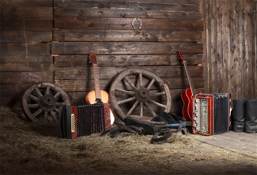 Laeacco Wooden House Hay Bale Musical Instruments Photographic Backgrounds Customized Photography Backdrops For Photo Studio