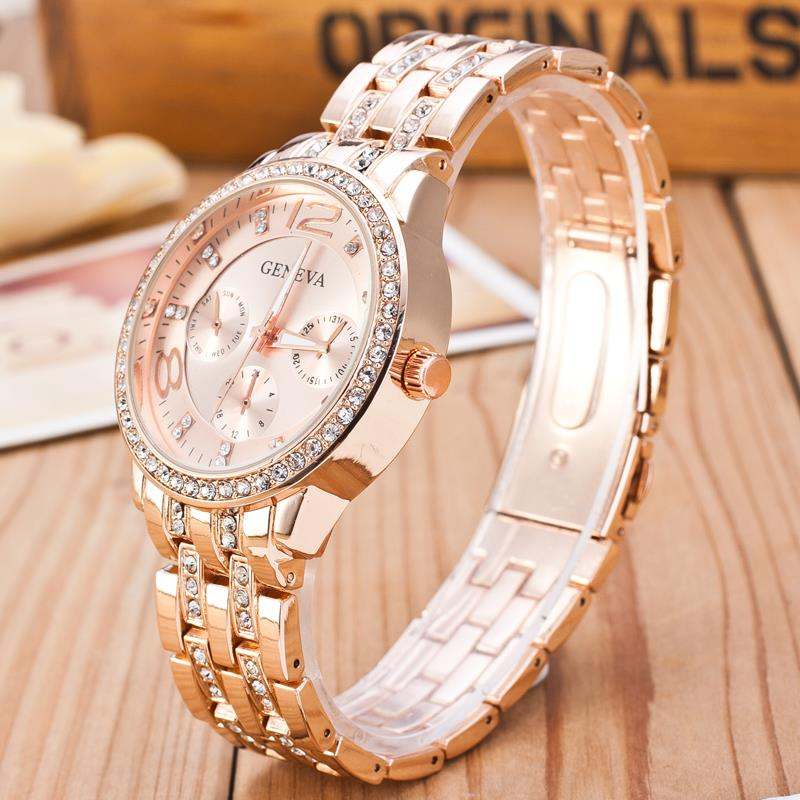 2019 New Famous Brand Gold Crystal Genève Casual Quartz horloge - Dameshorloges - Foto 6
