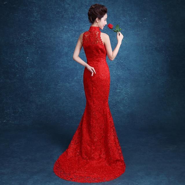 Red Lace Trailing Evening Dress Women Chinese Bride Wedding Qipao Long Cheongsam Traditional Qi Pao Vestidos Robe Chinoise Sexy