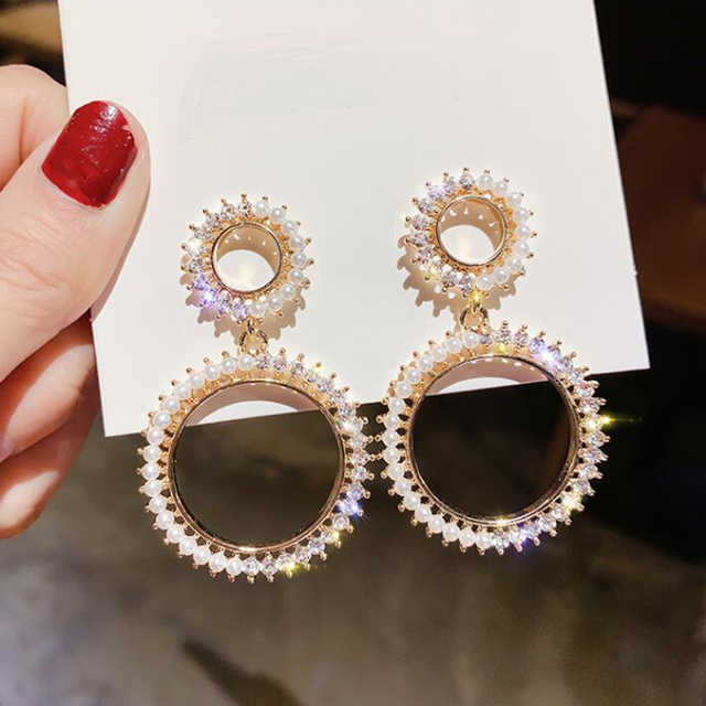 Luxury Female White Shiny Statement Round Earrings Fashion Wedding Jewelry Double Crystal Zircon Earrings For Women.jpg 640x640 - Luxury Female White Shiny Statement Round Earrings Fashion Wedding Jewelry Double Crystal Zircon Earrings For Women