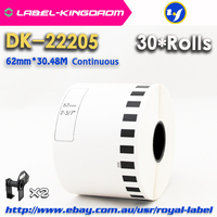 30 Refill Rolls Compatible DK 22205 Label 62mm*30.48M Continuous Compatible for Brother Label Printer White Paper DK22205