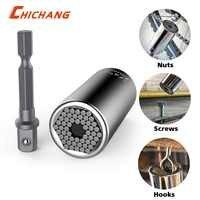 Conjunto universal da chave de soquete do aperto do jacaré do soquete com o adaptador de broca de energia chrom-aço de vanádio de 7mm a 19mm ferramenta de ajuste automático